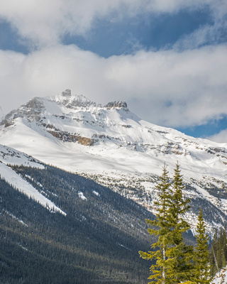 White-capped peaks abound on the Icefields Parkway in the early spring
