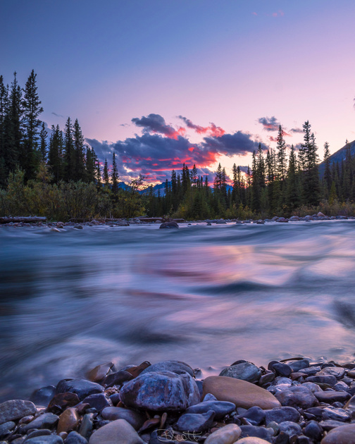 A long exposure beside Pobokton Creek Campground in Jasper National Park.