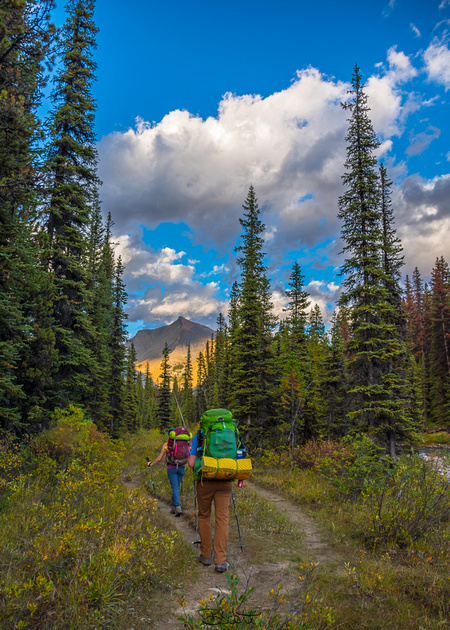 Backpackers head into the backcountry of Jasper National Park